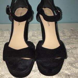 Via Spiga Black Suede Sandals